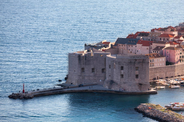 Aerial view of the Fort Saint Ivana in old town Dubrovnik stock photo