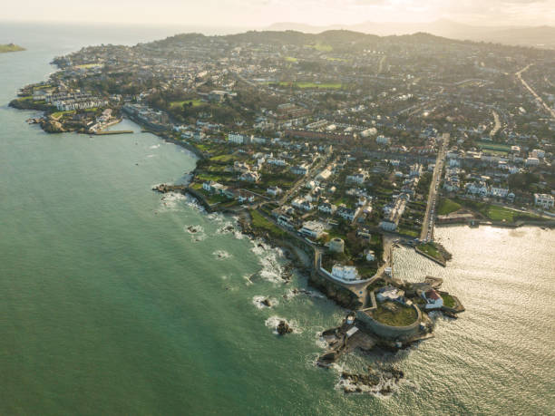 Aerial view of the forty foot, Sandycove, Dublin, Ireland. stock photo