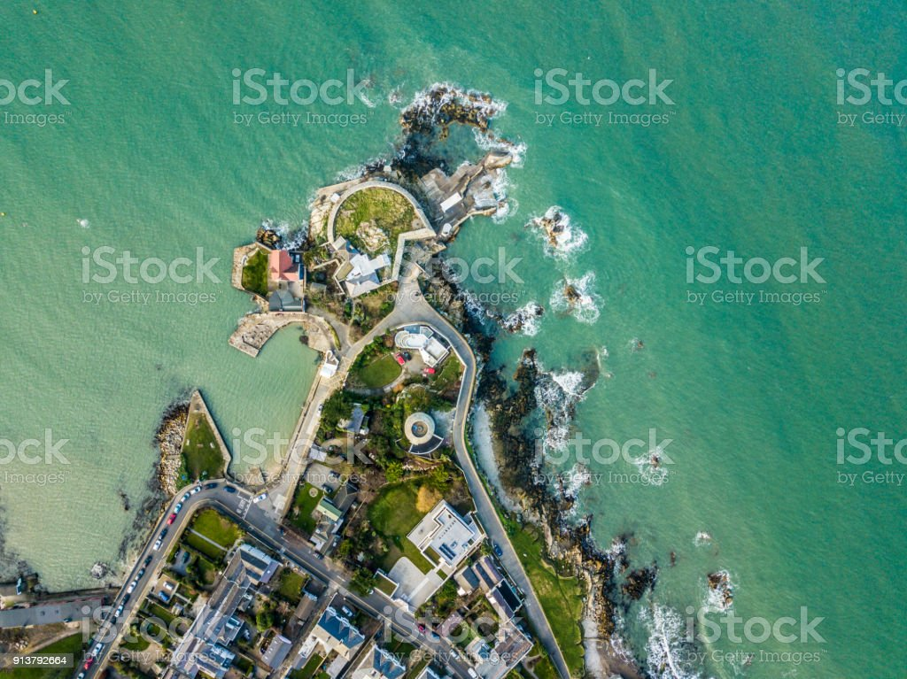 Aerial view of the forty foot, Sandycove, Dun Laoighaire, Dublin, Ireland. stock photo