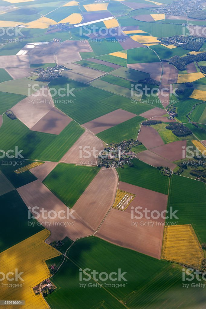 Aerial view of the French countryside before Paris,France - Photo