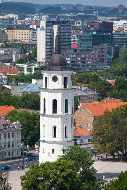 Aerial view of the Gediminas Bell Tower in Vilnius stock photo