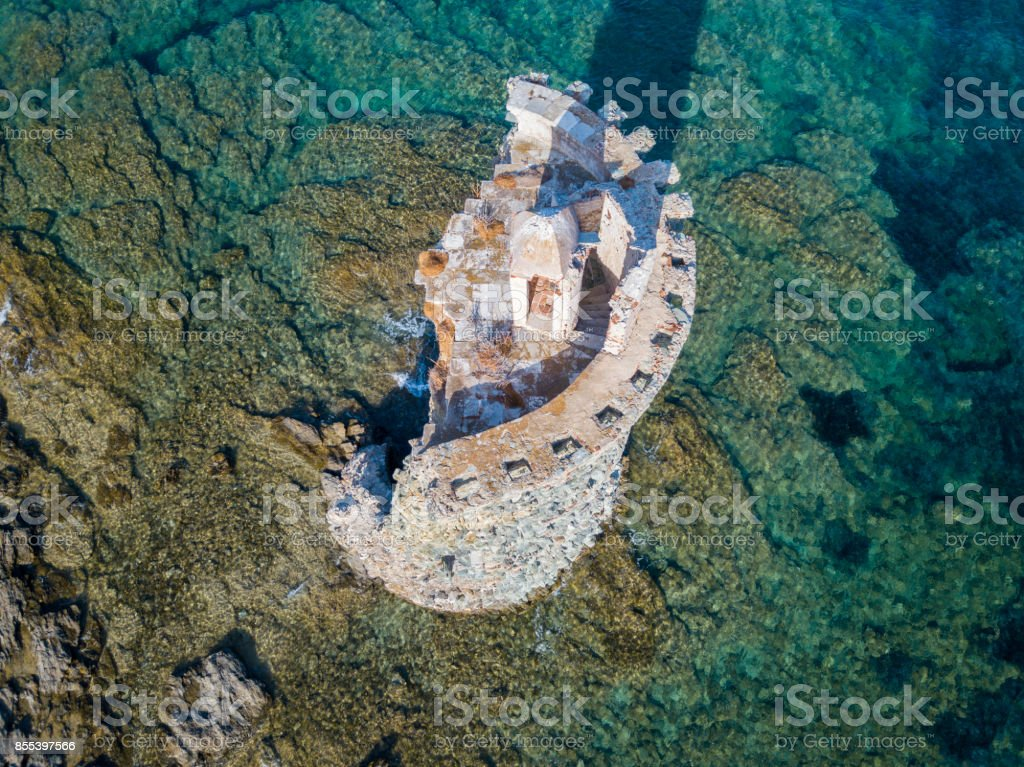 Aerial View of the Genovese Tower, Tour Genoise, Cap Corse Peninsula, Corsica. Coastline. France stock photo