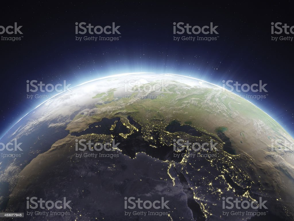 Aerial view of the glowing Earth stock photo