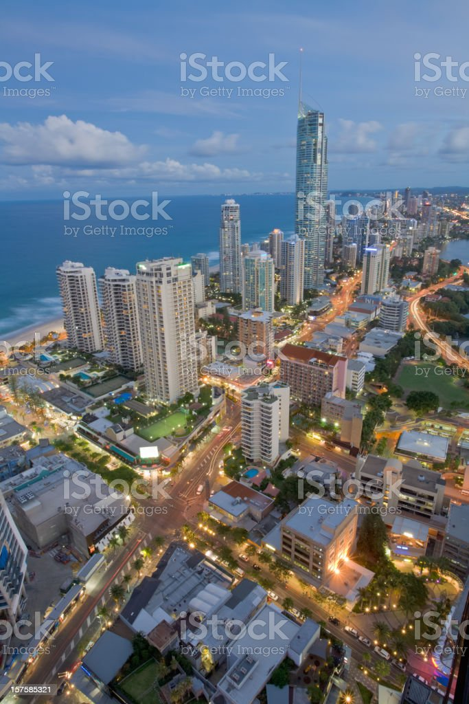 Aerial view of the Gold Coast at dusk time stock photo