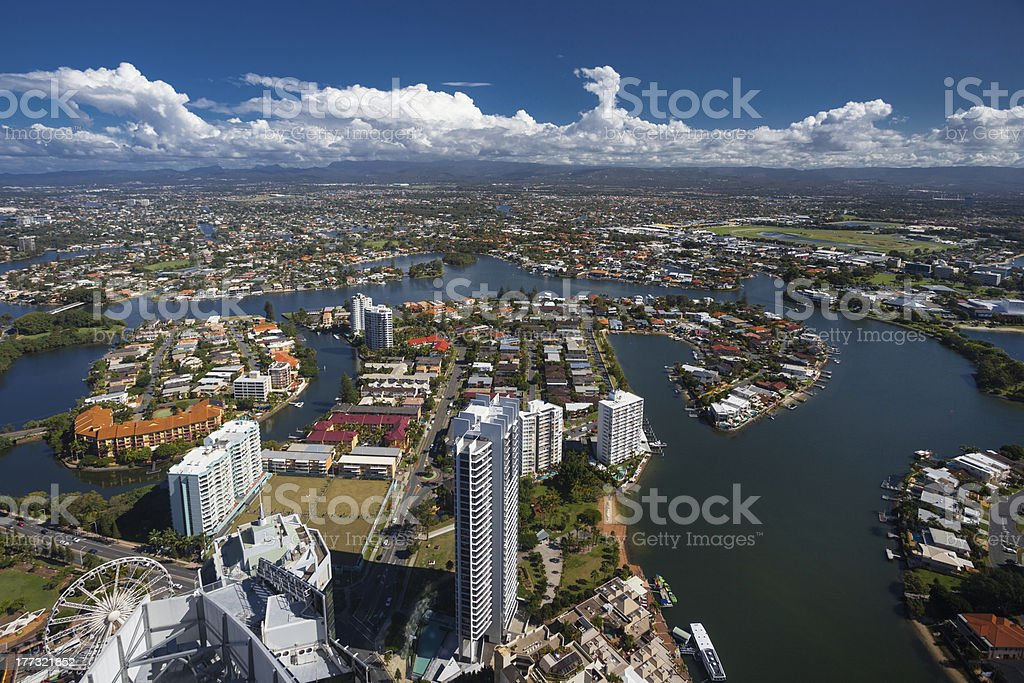 Aerial view of the Gold Coast hinterland royalty-free stock photo