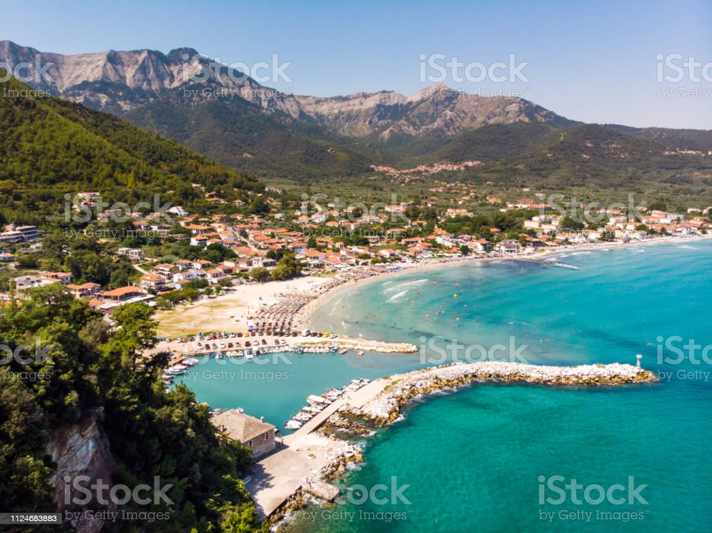 Aerial view of the Golden Beach in Thasos, Greece stock photo