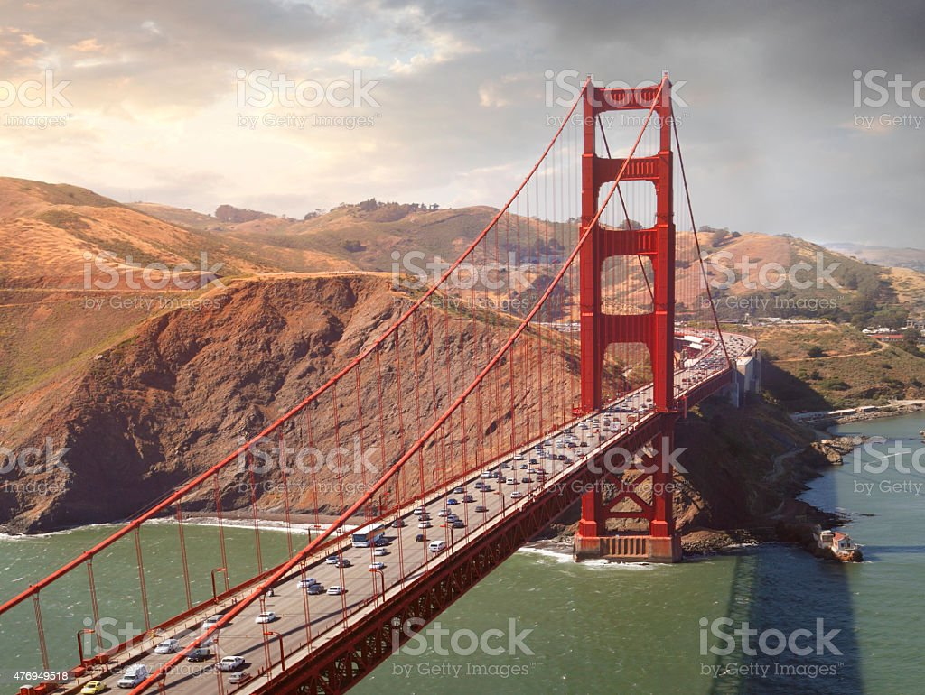 Aerial view of the Golden Gate Bridge stock photo
