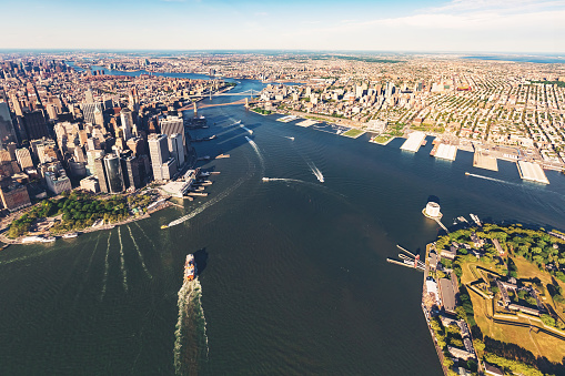 Aerial view of the Governors Island with Brooklyn New York in the background