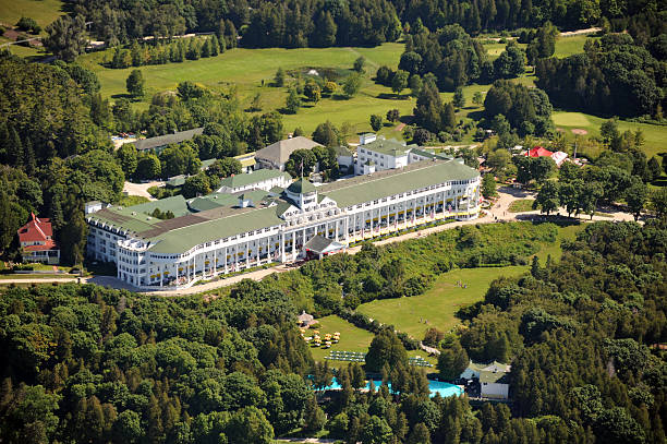 aerial view of the grand hotel, michigan, usa - mackinac island stock photos and pictures