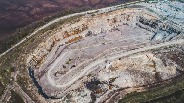 Aerial view of the granite quarry. stock photo