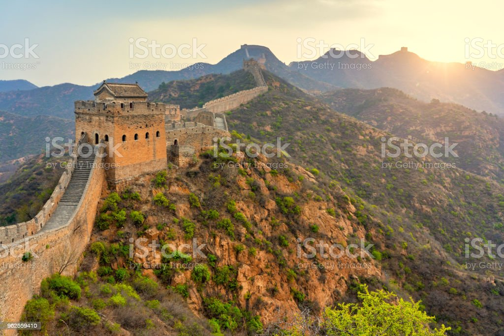 Aerial view of The Great Wall of China stock photo