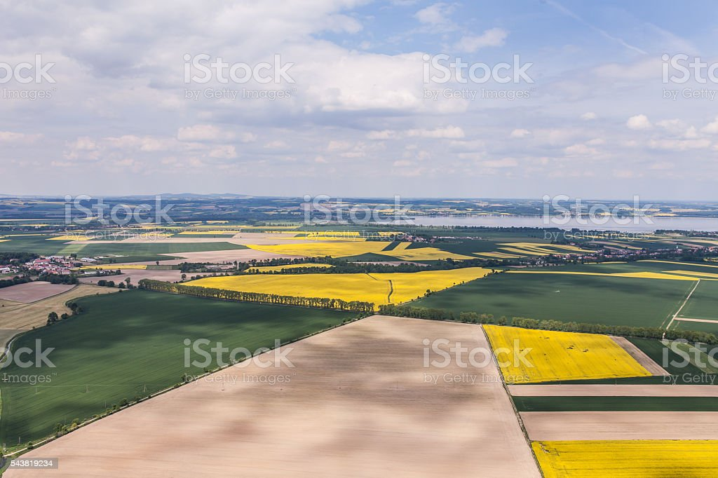 aerial view of the  harvest fields stock photo