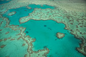 Aerial view of the Heart reef in the Whitsundays Islands.
