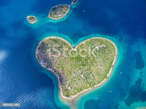 istock Aerial view of the heart shaped Galesnjak island on the 589582482
