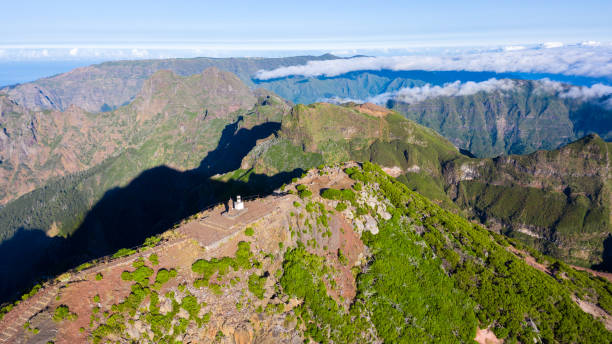 Aerial view of the highest peak of Madeira island, Pico Ruivo. Aerial view of the highest peak of Madeira island, Pico Ruivo. ilha da madeira stock pictures, royalty-free photos & images
