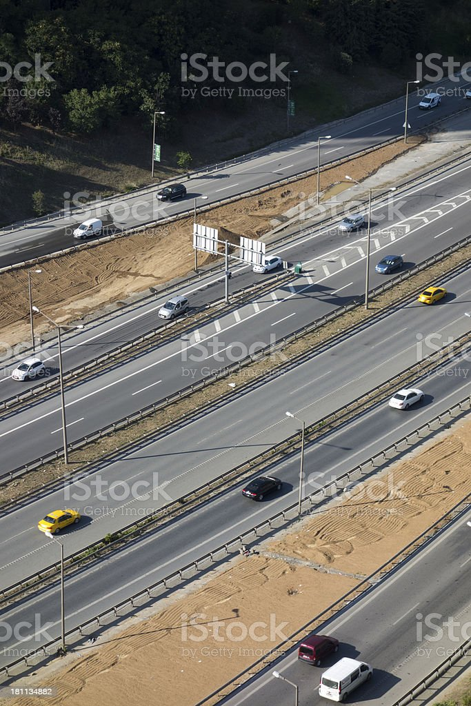 Aerial view of the highway leading into istanbul royalty-free stock photo