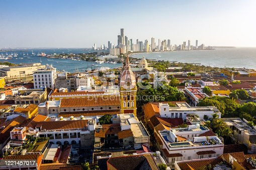 Aerial view of the historic city center of Cartagena, Colombia. Panorama of the old and new parts of the city in Cartagena.