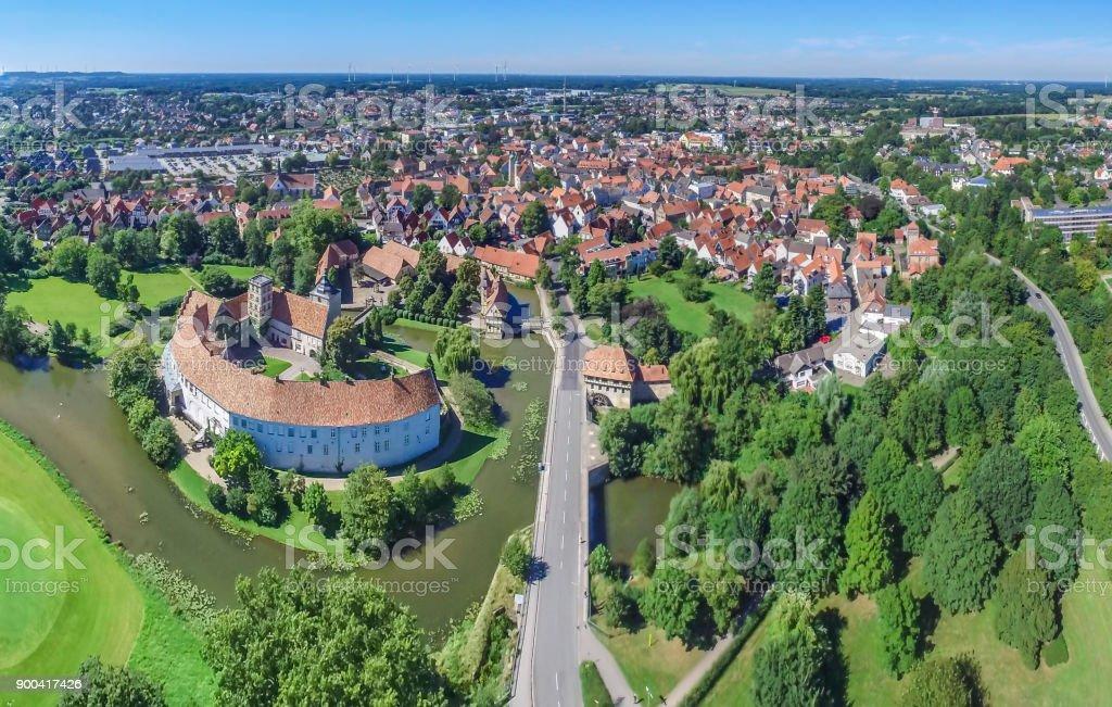 Luftbild von der historischen Stadt Steinfurt - Lizenzfrei Deutschland Stock-Foto