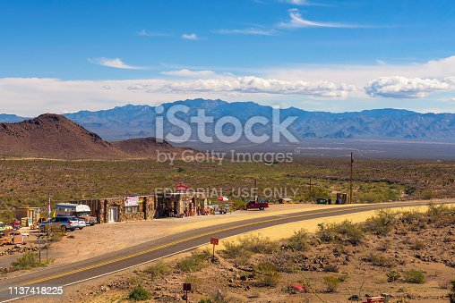 Cool Springs, Arizona, USA - October 24, 2018: Aerial view of the historic route 66 going through the Black Mountains with the rebuilt Cool Springs gas station in Arizona.