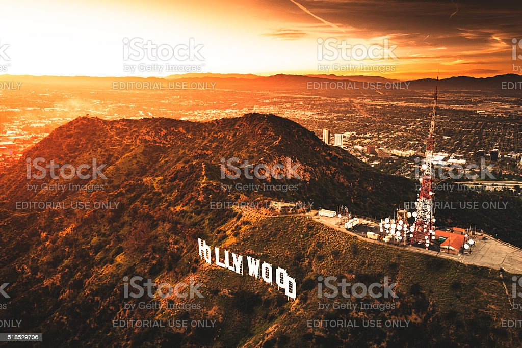 Aerial view of the Hollywood sign at dusk stock photo