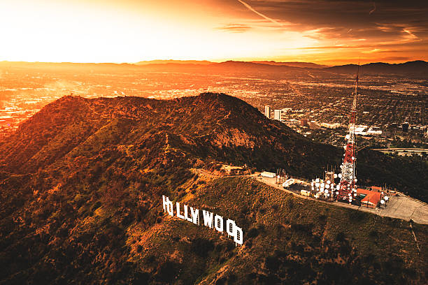 aerial view of the hollywood sign at dusk - hollywood sign bildbanksfoton och bilder