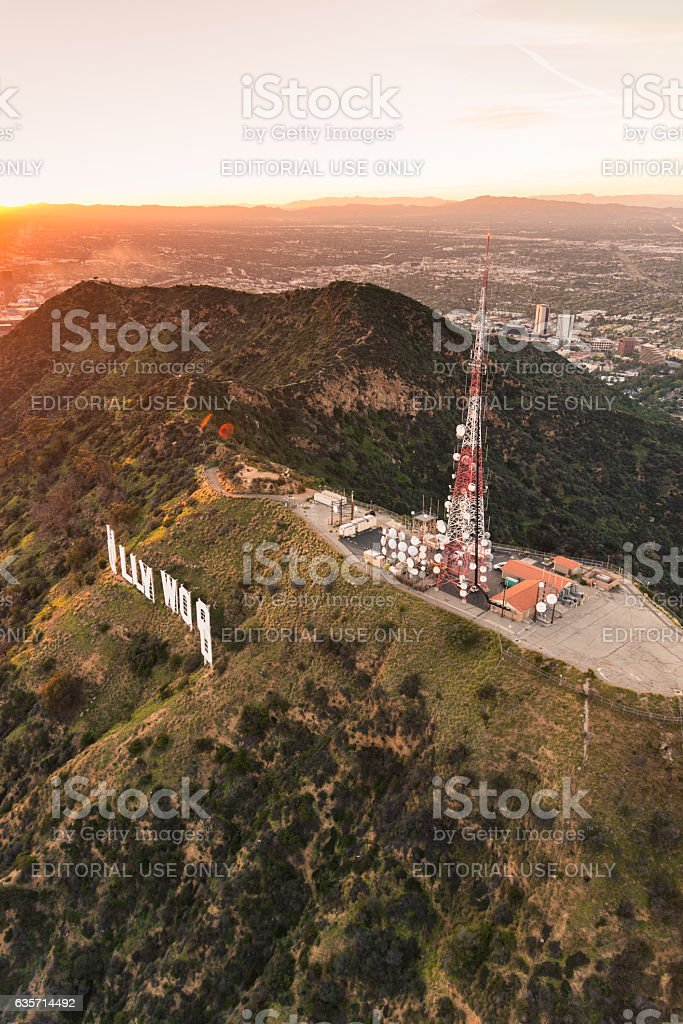 Aerial view of the Hollywood sign at dusk royalty-free stock photo