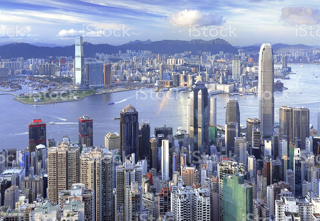 Aerial view of the Hong Kong cityscape stock photo
