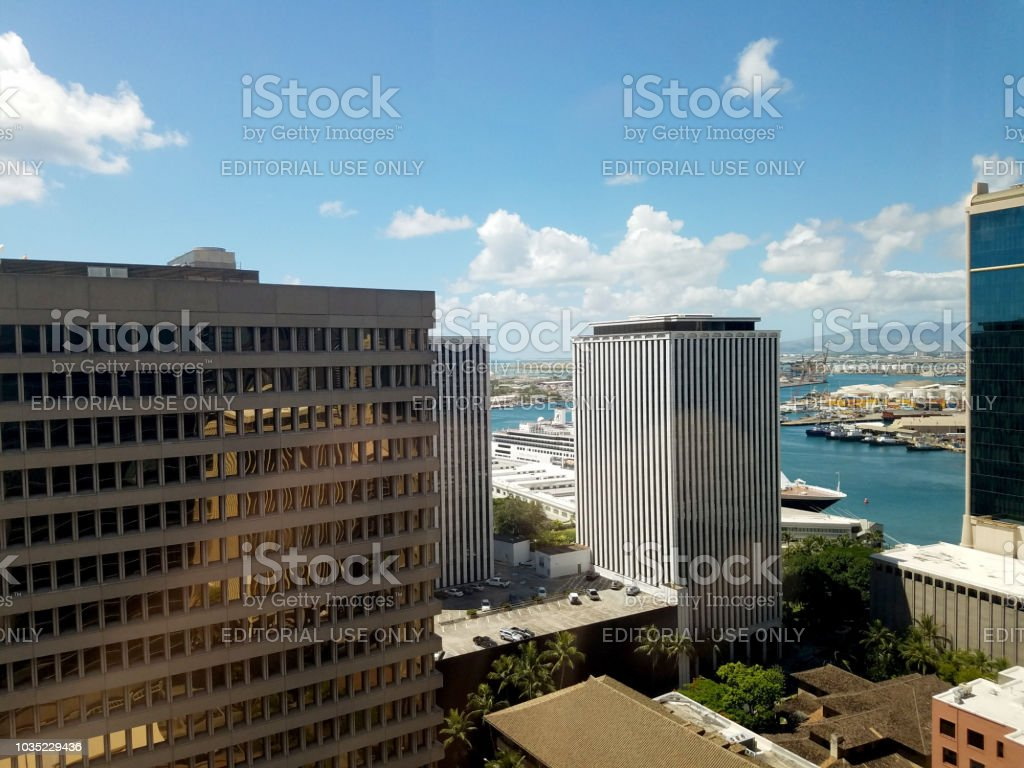 Aerial view of the Honolulu Office buildings and downtown skyline stock photo