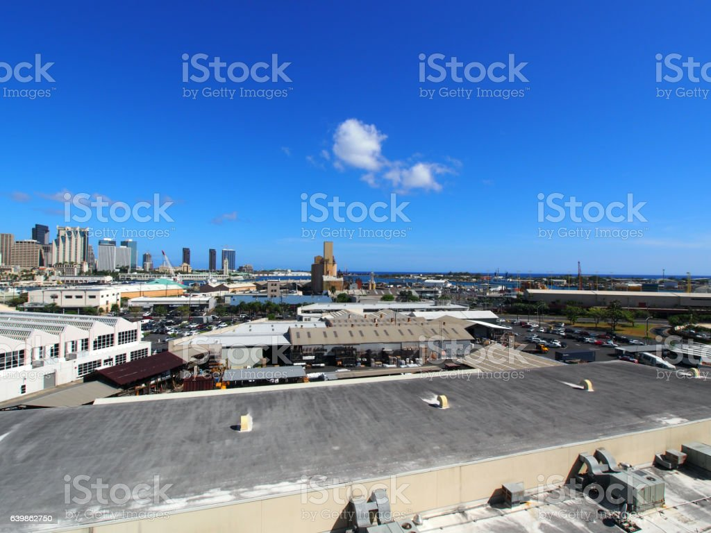 Aerial view of the Honolulu Port and downtown skyline stock photo