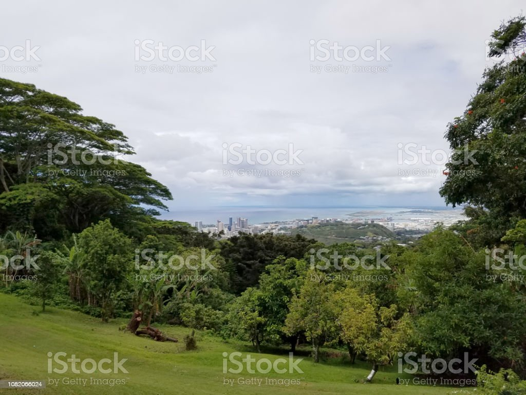 Aerial view of the Honolulu Port, Punchbowl, and downtown skyline stock photo