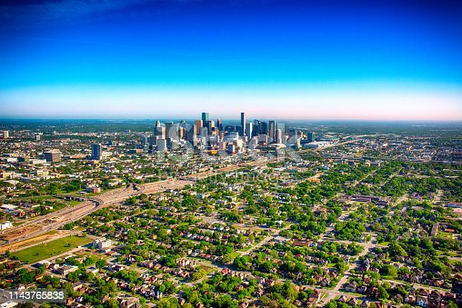 The urban downtown and surrounding areas of Houston, Texas from above during a helicopter photo flight.