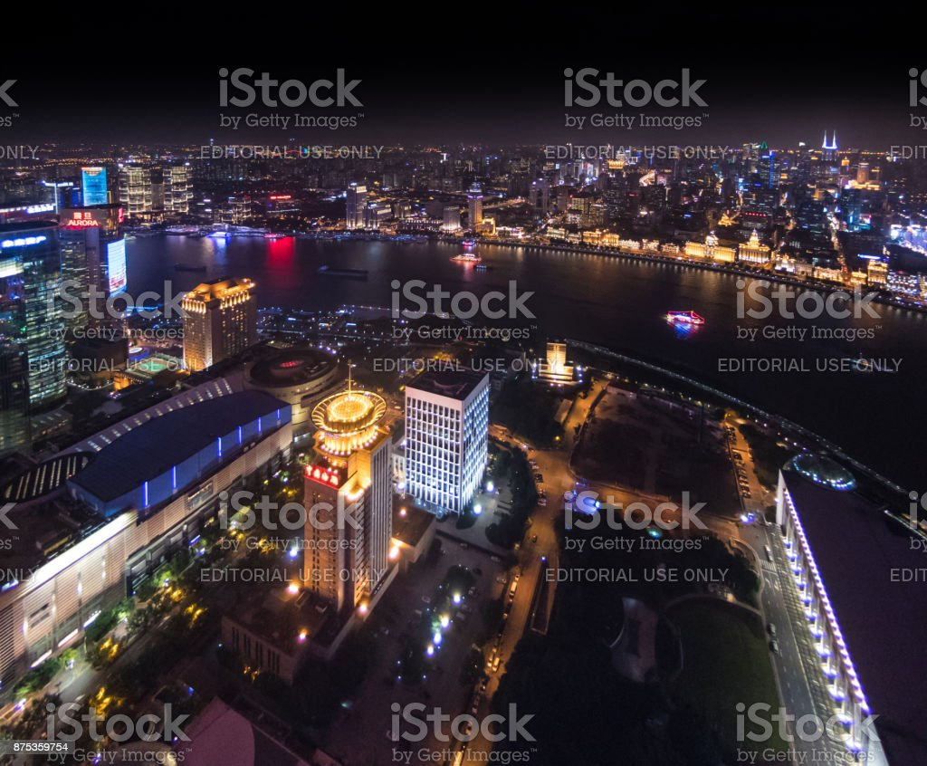 Aerial view of the Huangpu River and central Shanghai, China stock photo