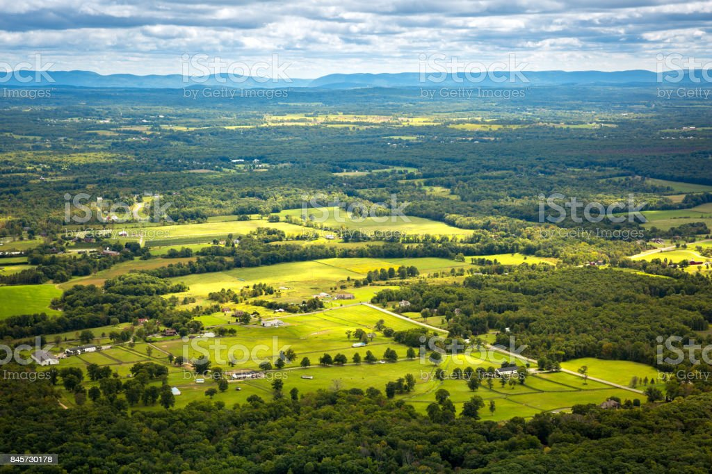 Aerial view of the Hudson Valley farm land stock photo