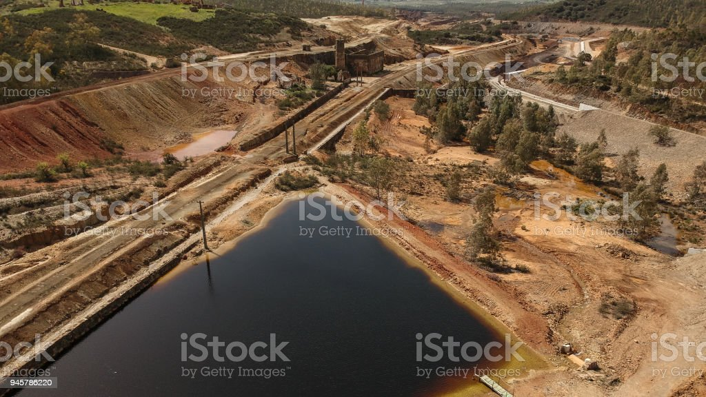 Aerial view of the huge copper mine stock photo