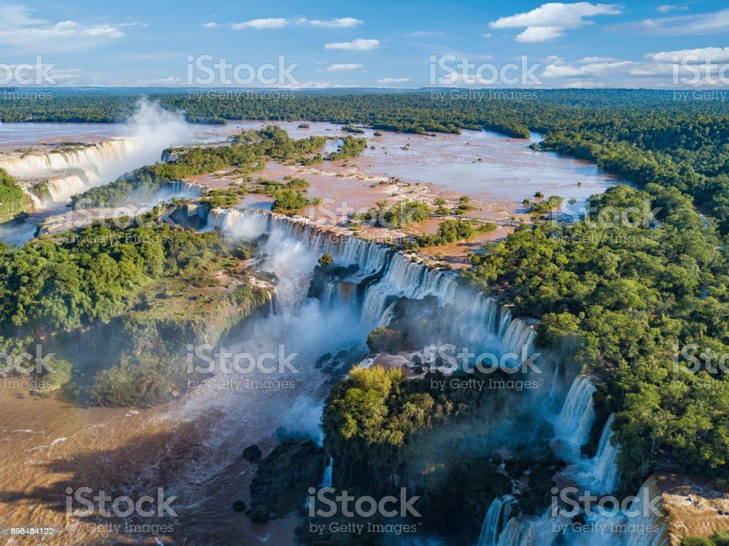 Aerial view of the Iguazu Falls. View over the Garganta del Diablo the Devil's Throat. stock photo