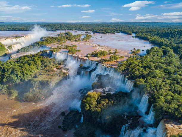 Aerial view of the Iguazu Falls. View over the Garganta del Diablo the Devil's Throat. stock photo