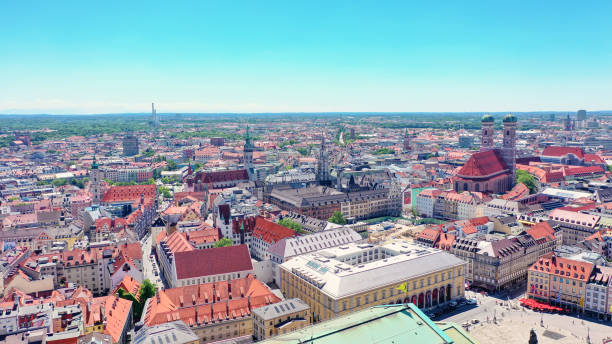 aerial view of the inner city of Munich, Bavaria, Germany stock photo