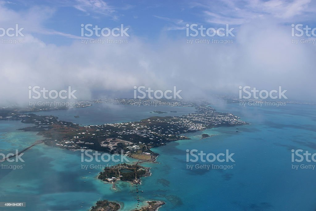 Aerial View of the Island of Bermuda and its Reefs stock photo