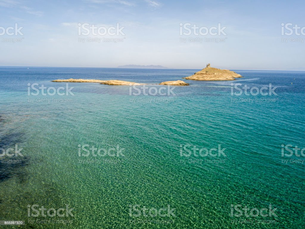 Aerial view of the islands of Finocchiarola, Mezzana, A Terra, Peninsula of Cap Corse, Corsica. Tyrrhenian Sea, Uninhabited Islands that are part of the municipality of Rogliano. France stock photo