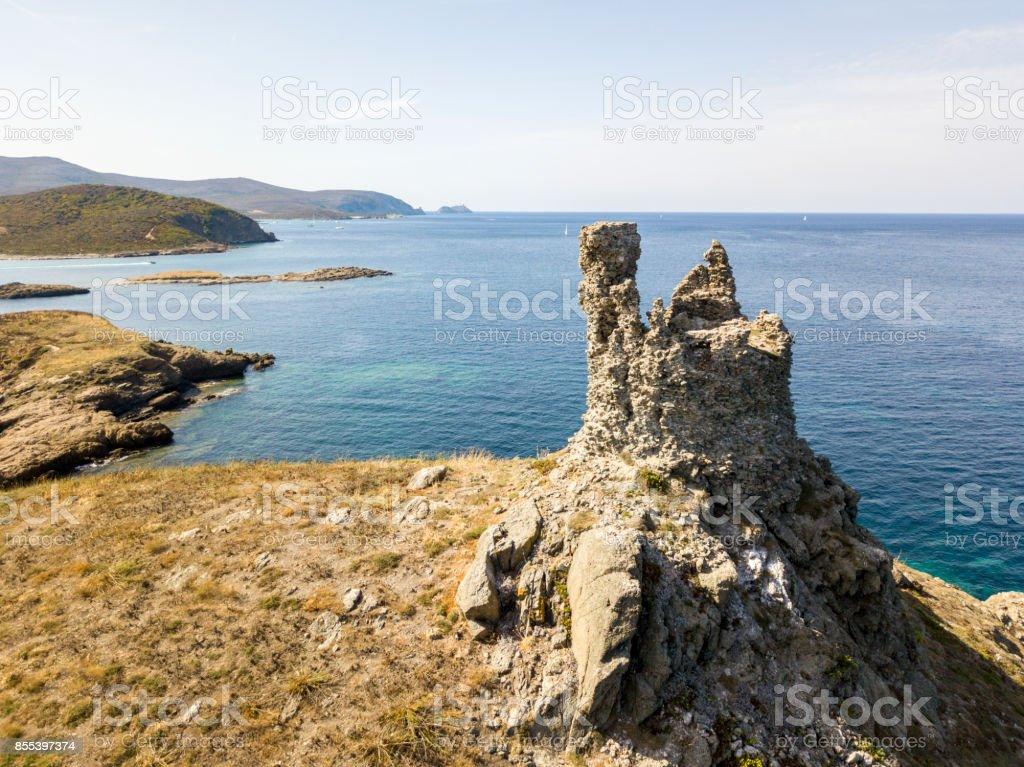 Aerial view of the islands of Finocchiarola, Mezzana, A Terra, Peninsula of Cap Corse, Corsica. Tyrrhenian Sea, Uninhabited Islands that are part of the municipality of Rogliano. France stock photo
