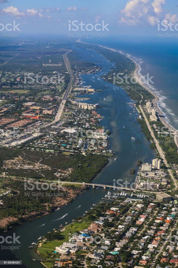 Aerial View of the Jupiter Beach Inlet stock photo