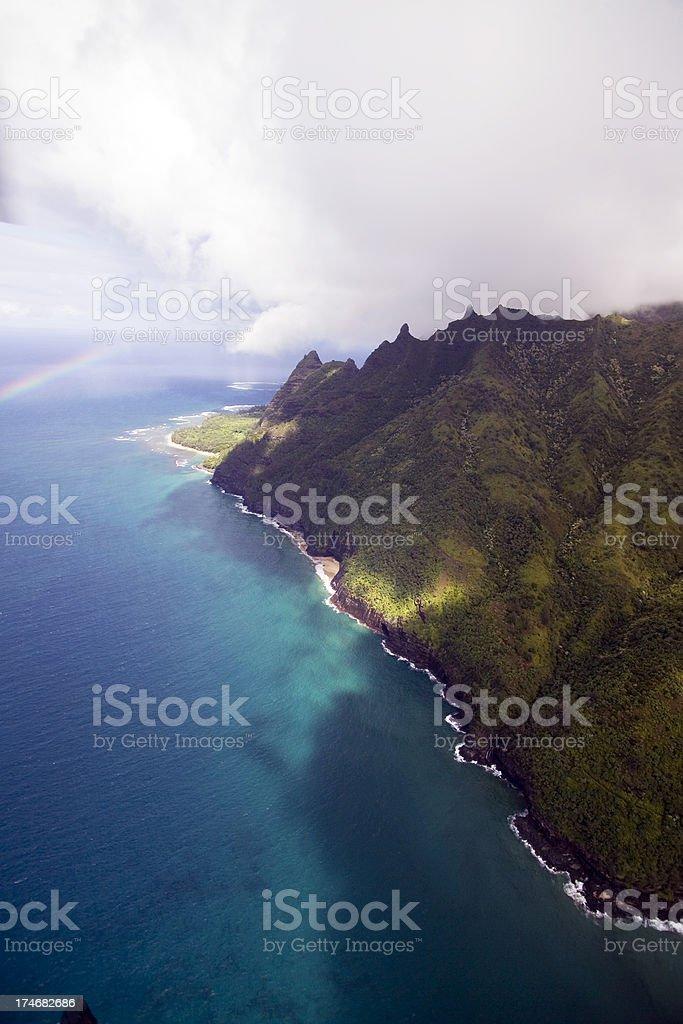 Aerial View of the Kauai Hawaii Coastline stock photo