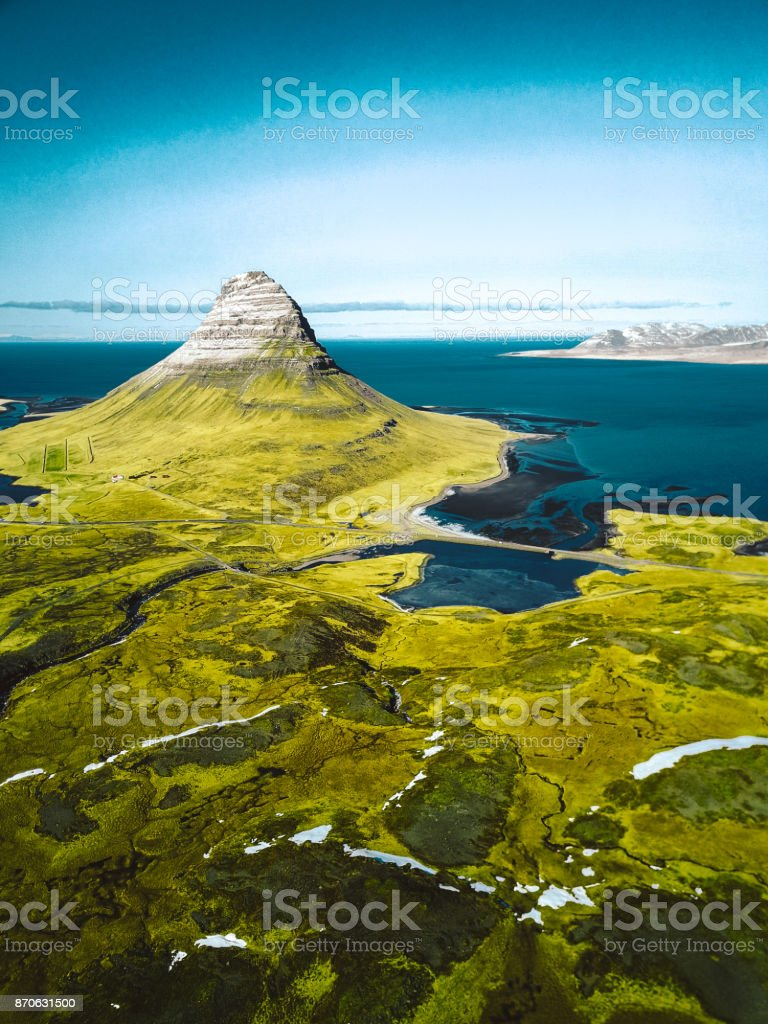Aerial view of the Kirkjufell mountain in iceland stock photo