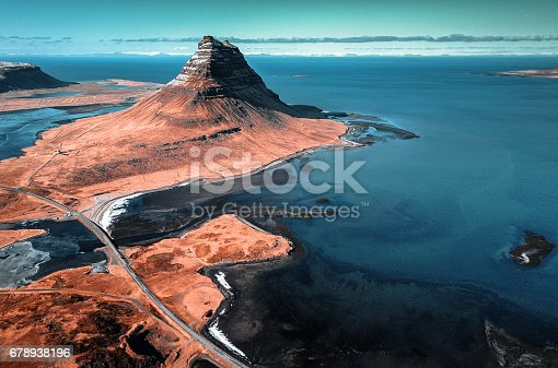 aerial view of the Kirkjufell mountain