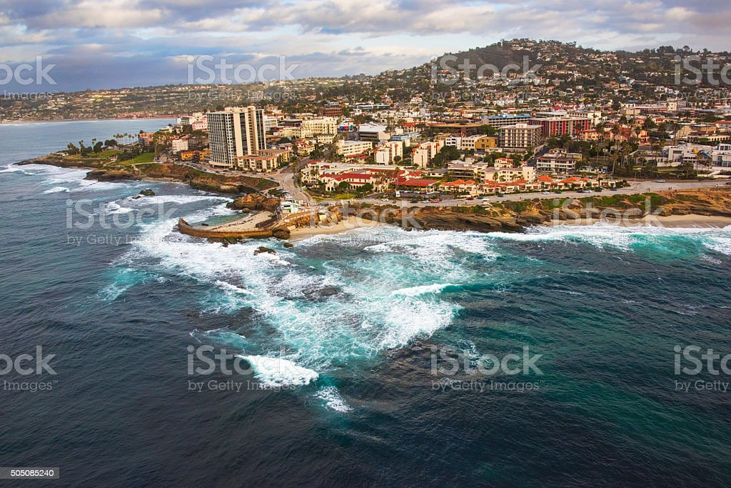 Aerial View of  the La Jolla Coastline - San Diego stock photo