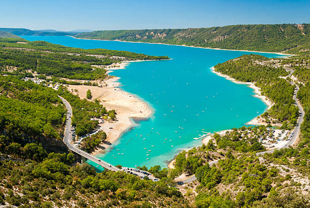 Aerial view of the lake of Sainte Croix in Provence stock photo