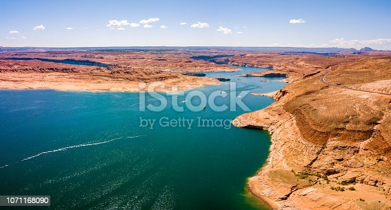 Aerial view of the Lake Powell from above near Glen Canyon Dam and Page town