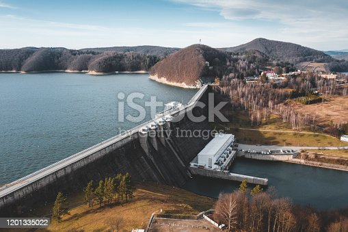 Aerial view of the Solina Dam, the largest dam in Poland. It is located in Solina of Lesko County in the Bieszczady Mountains area of south-eastern Poland. Its construction created the largest artificial lake in Poland - Lake Solina.