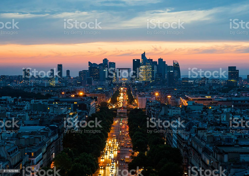 Aerial View of the Le Defence, Paris, France stock photo