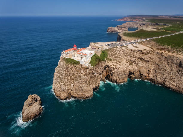 Aerial view of the lighthouse Cape St. Vincent . stock photo